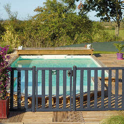 Barrière piscine bois à barreaux - Longueur 180 cm - Natural