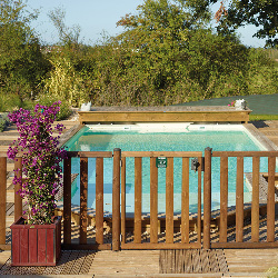 Portillon bois pour barrière piscine bois - A barreaux