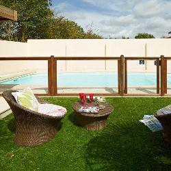 Barrière piscine bois & plexiglas - Longueur 180 cm -  Visual